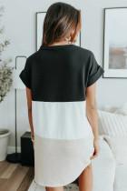 Mini-robe noire à manches courtes et à trois blocs de couleurs