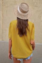 Sárga csipke összekötő nyakú svájci pöttyös rövid ujjú felső