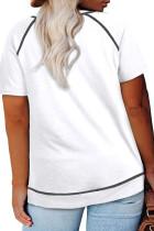 T-shirt à manches courtes à col rond et grande taille blanc