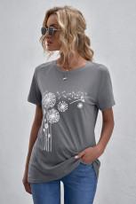 تی شرت چاپ خاکستری گردن قاصدک