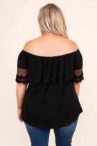 Haut à manches courtes à épaules dénudées et grande taille noir
