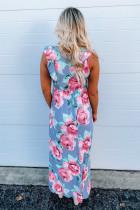 لباس ماکسی گل دار بدون آستین بلند و آستین بلند