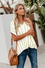 Chemise boutonnée à manches courtes rayée jaune