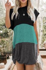Zöld Colorblock csavart mini ruha