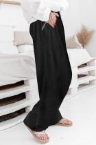 Pantalon décontracté taille haute à jambes larges et à cordon de serrage noir