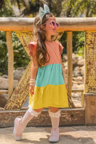 Robe enfant jaune à manches volantées et color block