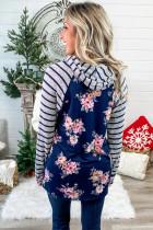 Blue Stripes Floral Pullover Hettegenser