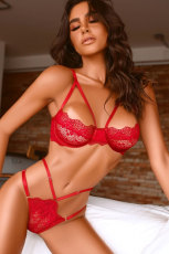 Red Cadged Strappy Lace Bralette Set