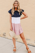 Mini-robe rose à blocs de couleurs à volants et à volants