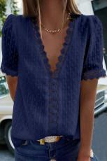 تاپ آستین کوتاه تاشو گردن V-V و گردن آبی