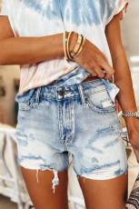 Short en jean délavé taille haute bleu ciel avec poches vieillies