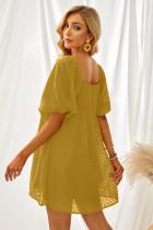 Sárga négyzet alakú nyakú puffhüvelyes Babydoll mini ruha