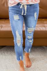 Himmelblå snor elastisk midjehull revet jeans