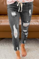Jean gris déchiré à taille élastique avec cordon de serrage