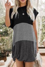 Szürke Colorblock csavart mini ruha