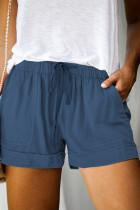 Short bleu avec poche à cordon de serrage à taille élastique