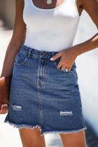Blå lomme, rå hemline kort denimskjørt