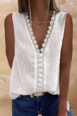 Fehér horgolt V nyakú texturált póló
