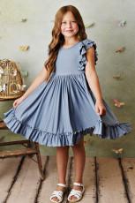 Robe enfant fluide plissé à taille empire bleue
