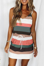 Svart spaghetti stropper stripet snor midje mini kjole