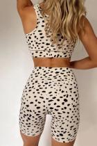 Aprikos leopardprint sports-bh og shorts med høy midje