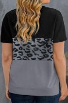 T-shirt noir à motif léopard et colorblock grande taille