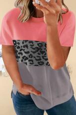 Leopard Accent Colorblock Plus-storlek T-shirt