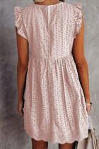 Rózsaszín V nyakú, fodros ujjú perforáló babydoll ruha