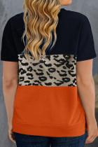 T-shirt bleu marine à motif léopard et colorblock grande taille