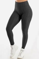 Pantalon de yoga anti-cellulite taille haute avec poches bout à bout noir