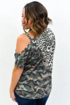 Leopard Camo splitter aszimmetrikus hidegváll plusz méretű felső