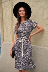 Robe décontractée léopard à manches courtes avec cordon de serrage