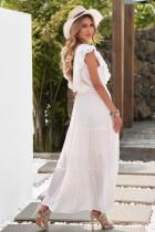 Beyaz Dantel Ekleme Fırfırlı Derin V Yaka Maksi Elbise