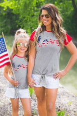 Foreldre-barn matchende voksen kjærlighetsflagg patchwork-t-skjorte