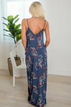 Robe longue au crochet sans manches à col en V et poches à imprimé floral bleu