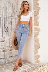 Lyseblå vasket høy midjeknapp Skinny Jeans