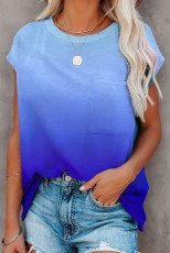 Blå gradient farge kortermet T-skjorte med lomme