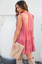 Mini-robe babydoll rose à pois suisses