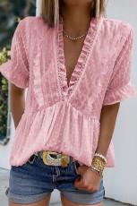 Rosa rufsete V-hals Frill Hem Swiss Dot bluse