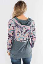 Grå Boho Print Color Block Patchwork glidelås krage genser