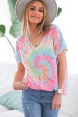 Slipsfarge T-skjorte med V-hals og korte ermer