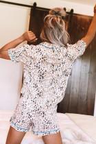 Set pigiama con stampa leopardata con risvolto e collo rovesciato