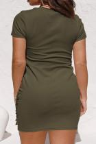 Zöld Crewneck rövid ujjú húzózsinór Ruched Plus Size Bodycon ruha