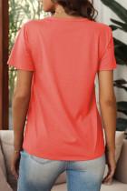Orange Distressed Crew Neck Daisy Grafisk T-skjorte