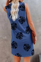 Mini-robe sans manches à col en V et imprimé végétal bleu