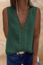 Zöld horgolt V nyakú texturált póló