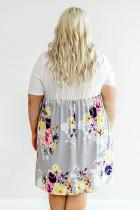 Hvit Midi-kjole i fargestørrelse med blomsterprint