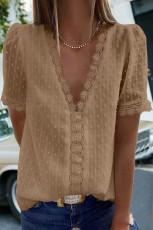 Khaki blonder V-hals Swiss Dot kortermet topp