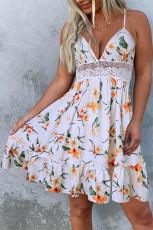 Blonder Splicing Floral åpen rygg Spaghetti stropp Mini kjole