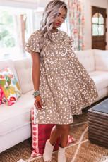 Mini-robe droite kaki à manches volantées et léopard